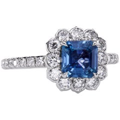 """""""Lotus"""" Halo Ring with Natural Sapphires and Diamonds in Platinum"""