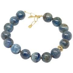 Lotus Kyanite 18 Karat Gold Wrap Bracelet