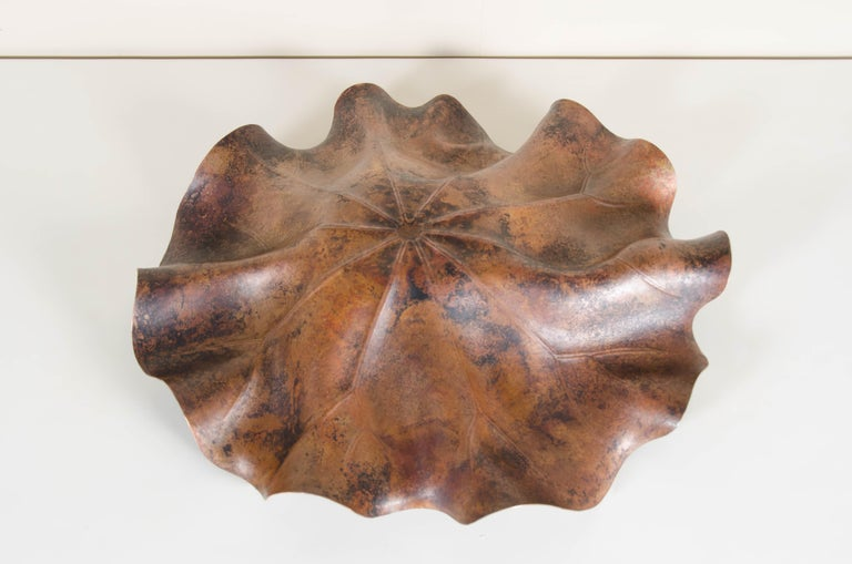 Lotus Leaf Plate, Antique Copper by Robert Kuo, Hand Repoussé, Limited Edition For Sale 2