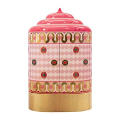 Lotus Sanctum Pink Storage Cabinet with Brass Inlay by Matteo Cibic