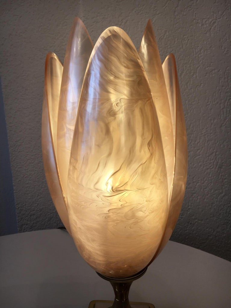Late 20th Century Lotus Shaped Table Lamp by Rougier, Canada, circa 1970s For Sale
