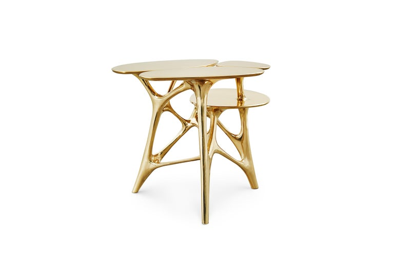 Chinese Lotus Side Table End Table Polished or Matte Brass Gold Customizable For Sale