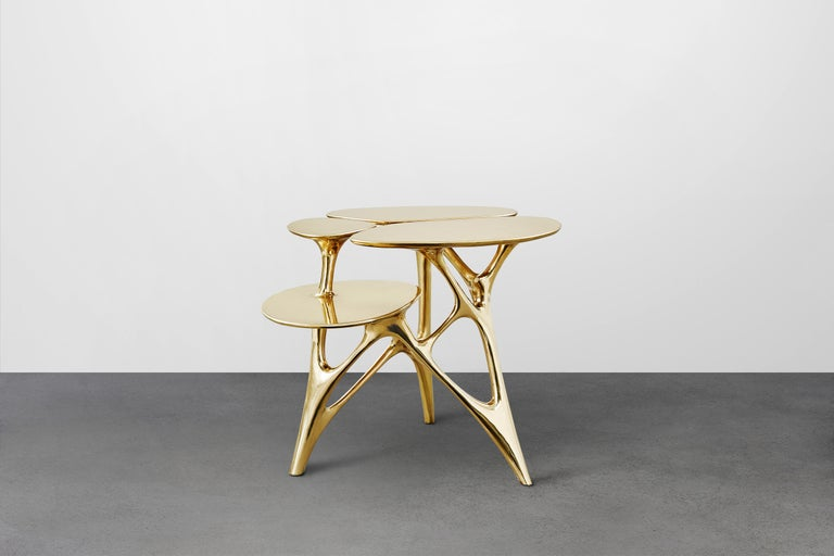 Lotus Side Table End Table Polished or Matte Brass Gold Customizable In New Condition For Sale In Los Angeles, CA