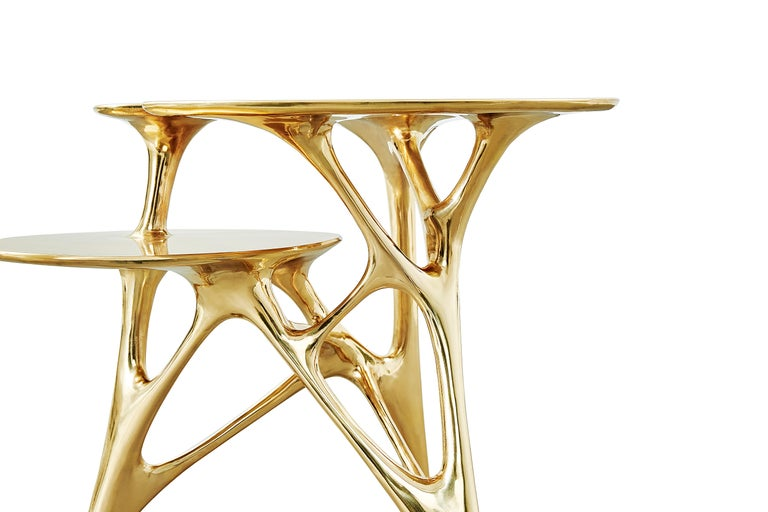 Contemporary Lotus Side Table End Table Polished or Matte Brass Gold Customizable For Sale