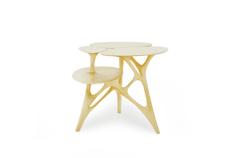 Lotus Side Table End Table Polished or Matte Brass Gold Customizable For Sale 1