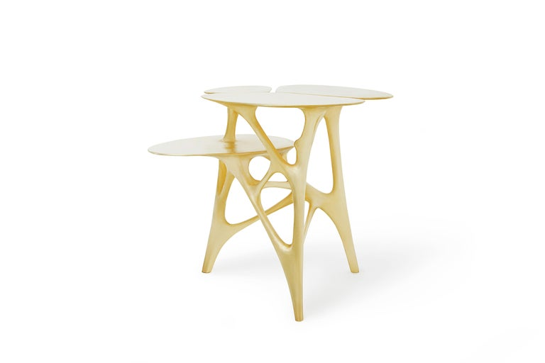 Lotus Side Table End Table Polished or Matte Brass Gold Customizable For Sale 2