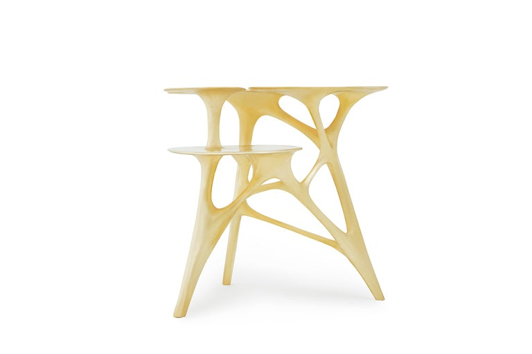 Lotus Side Table End Table Polished or Matte Brass Gold Customizable For Sale 3