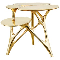 Lotus Side Table End Table Polished or Matte Brass Gold Customizable