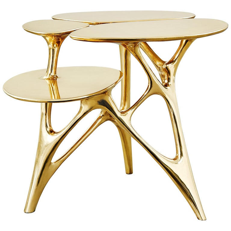 Lotus Side Table End Table Polished or Matte Brass Gold Customizable For Sale