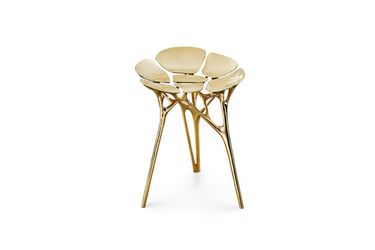 The Lotus Stool can be used also as a side table/end table or an accent piece in the interior. It is handmade by renowned Chinese artist Zhipeng Tan and can be customized in size and color.  Keyword: side table, stool, end table, accent table,