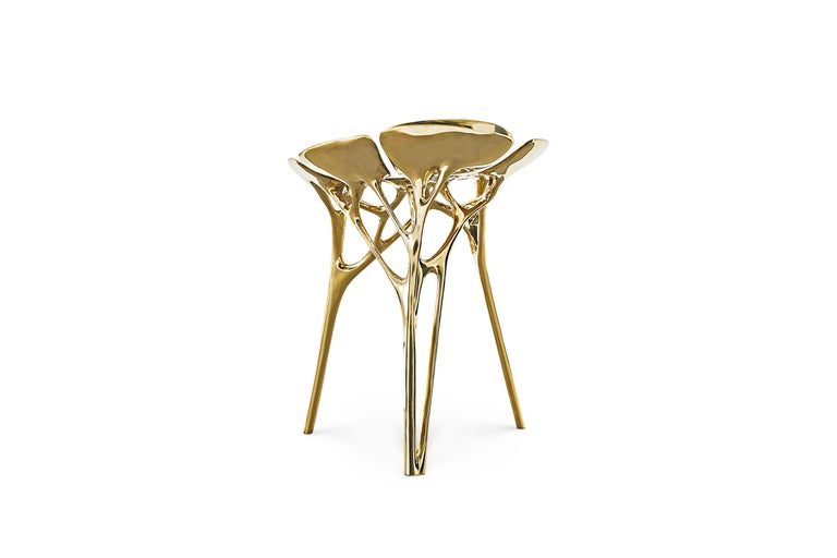 Chinese Lotus Stool Side Table Polished Brass Gold End Table Organic Form For Sale