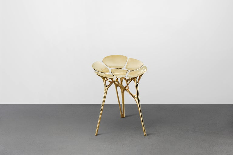 Contemporary Lotus Stool Side Table Polished Brass Gold End Table Organic Form For Sale