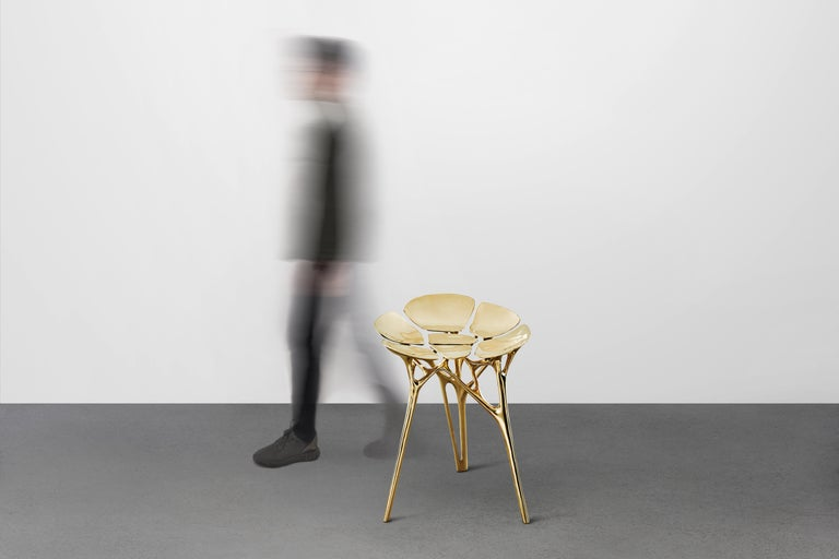 Lotus Stool Side Table Polished Brass Gold End Table Organic Form For Sale 1