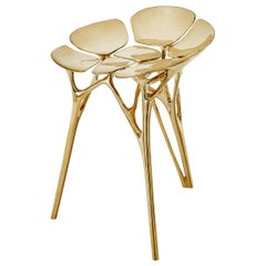 Lotus Stool Side Table Polished Brass Gold End Table Organic Form