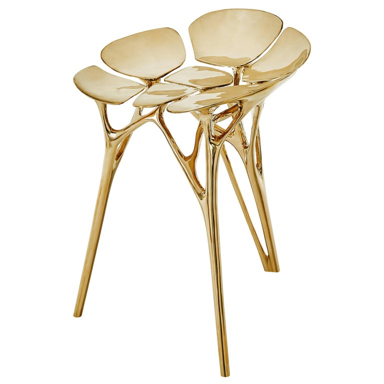 Lotus Stool Side Table Polished Brass Gold End Table Organic Form For Sale
