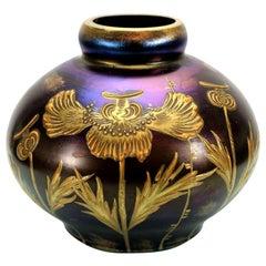 """Lötz Art Nouveau """"Ruby Enameled"""" Glass Vase Loetz"""