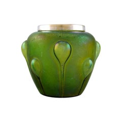 Lötz Art Nouveau Vase in Iridescent Art Glass with Silver Edge