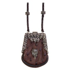 Lou Guerin - Necklace / Coin Purse - Silver Detailing - Plaited Leather Necklace
