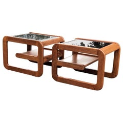 Lou Hodges California Design Pair of Midcentury End Side Tables