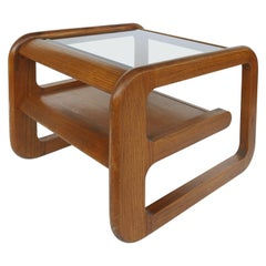 Lou Hodges California Midcentury Side Table with Inset Glass