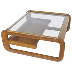 Lou Hodges Mid-Century Modern Coffee Table with Inset Glass