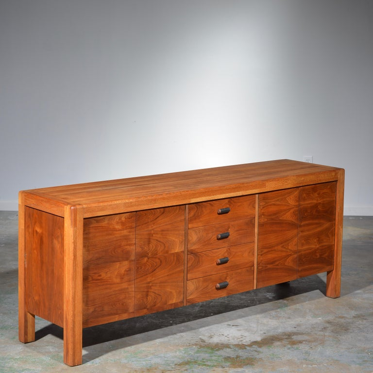 Modern Lou Hodges Oak and Walnut Credenza, circa 1970