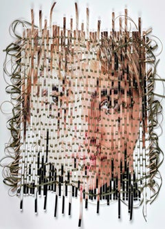 Disassemble #21 - Multimedia woven, textured portrait w/ curled green ribbons