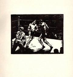 1938 Loual B. Sugarman 'Slug-Fest' Modernism Black & White USA Woodblock