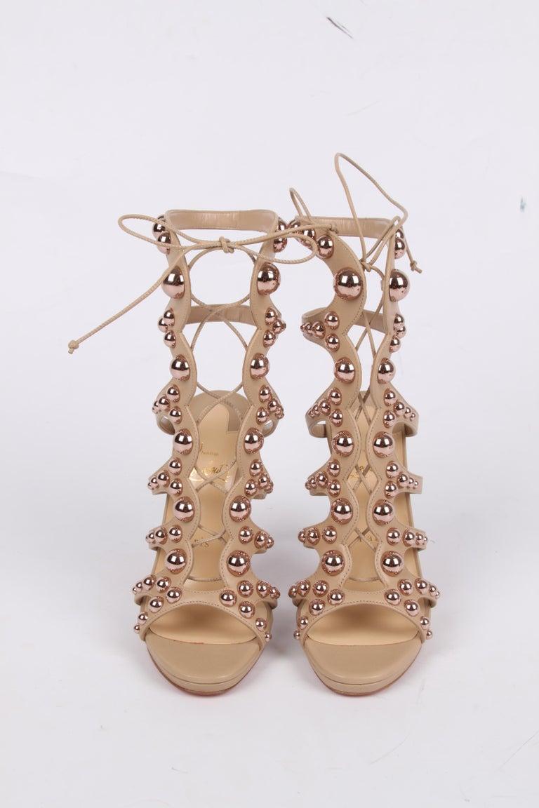 Beige Louboutin Amazoubille Leather Stud Sandals - beige For Sale
