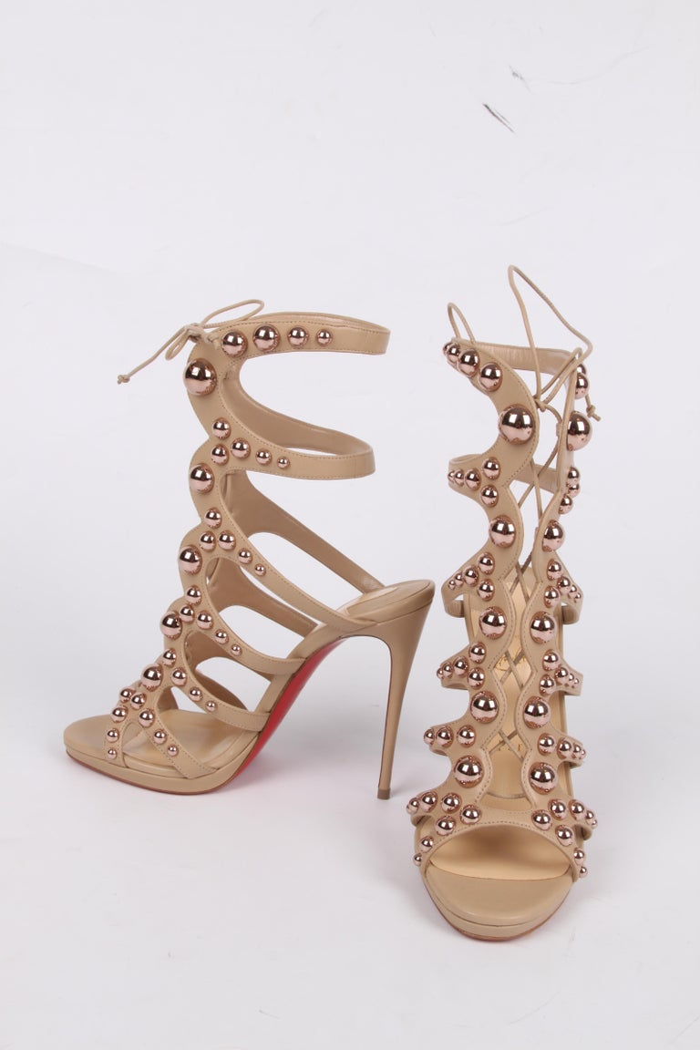 Louboutin Amazoubille Leather Stud Sandals - beige In New Condition For Sale In Baarn, NL