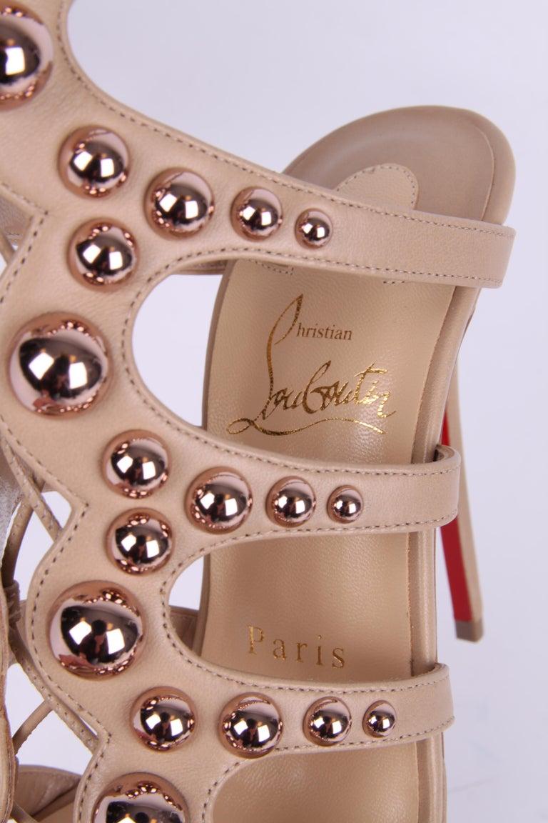 Women's Louboutin Amazoubille Leather Stud Sandals - beige For Sale