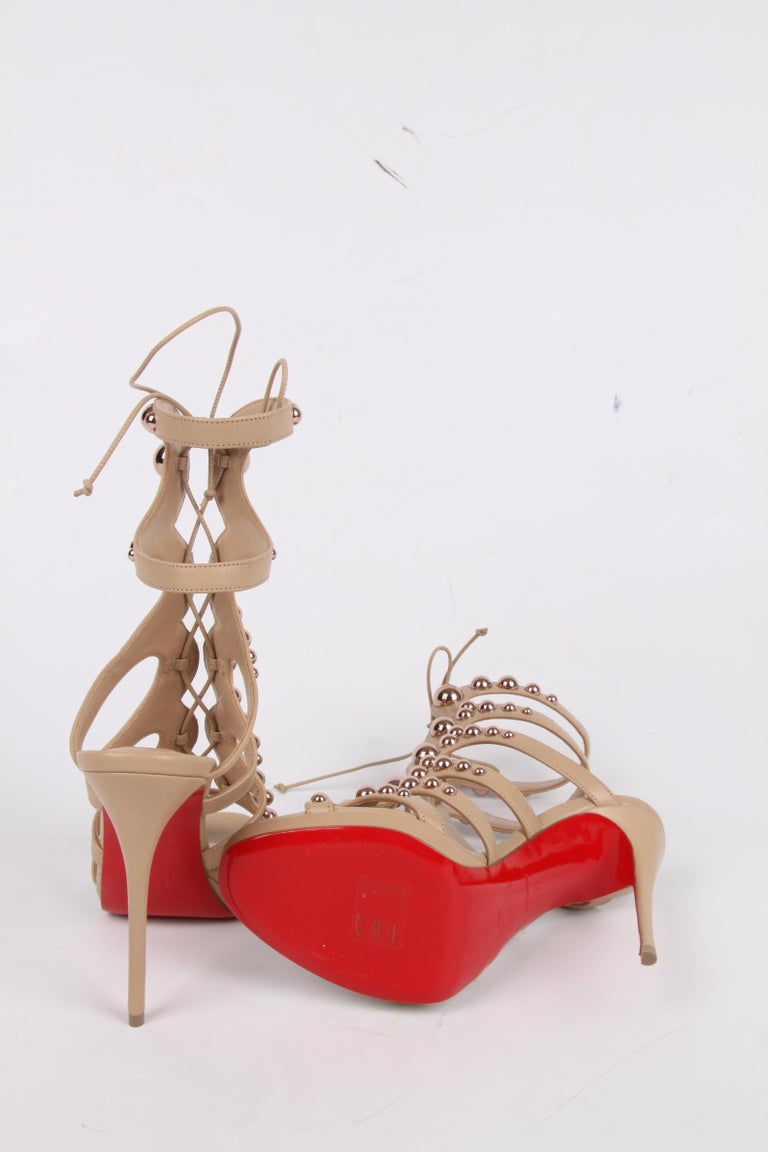 Louboutin Amazoubille Leather Stud Sandals - beige For Sale 1