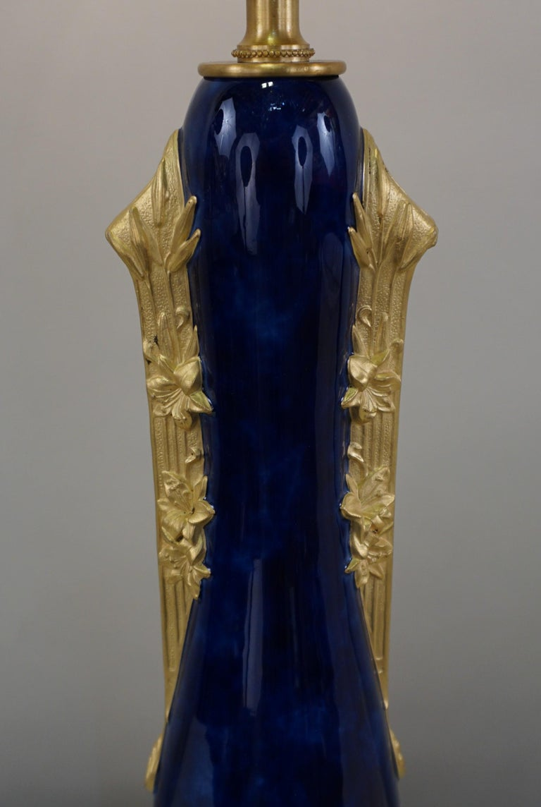 French Louchet Paris Bronze-Mounted Porcelain Table Lamp