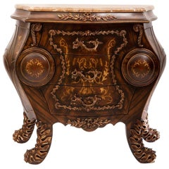 Loui XV Style Curved Commode with Marble Top 'Condensed', 20th Century