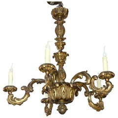 Louis 15 Style Gilt on Carved Wood Antique Chandelier