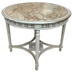 Louis 16 Style Round Gueridon Table Wood and Marble, circa 1850