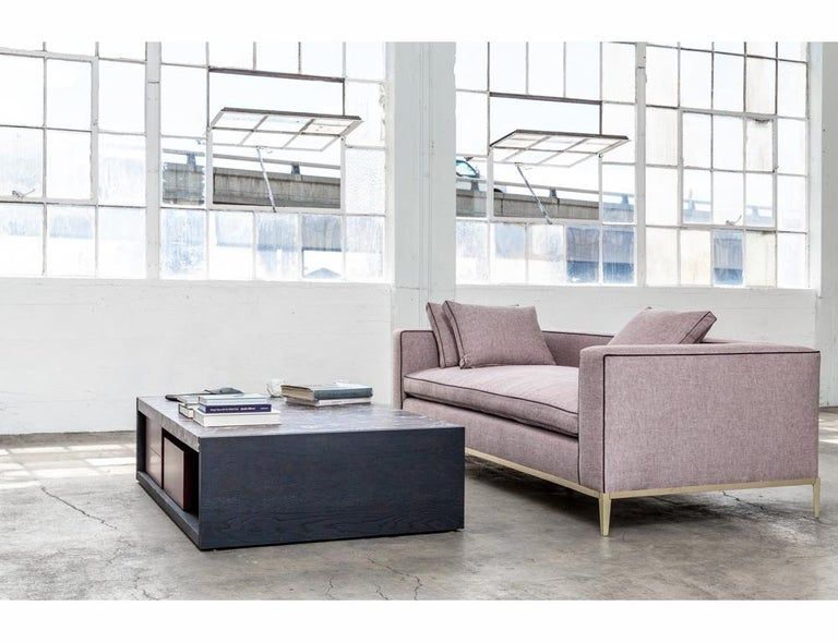 Louis Linen Sofa/Daybed with Leather Piping Brass/Bronze Base, Mandy Graham For Sale 3