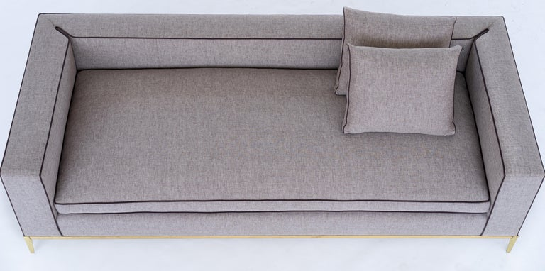 Modern Louis Linen Sofa/Daybed with Leather Piping Brass/Bronze Base, Mandy Graham For Sale
