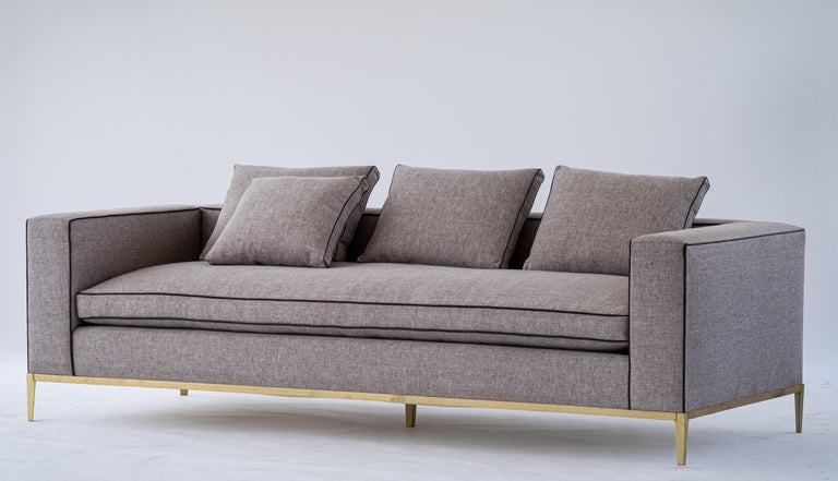American Louis Linen Sofa/Daybed with Leather Piping Brass/Bronze Base, Mandy Graham For Sale