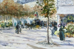 """Boulevard de Clichy - Paris"" Abel-Truchet C.19th French Impressionist Figures"