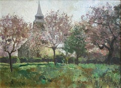 """""""Le Paysage Avec Une Eglise"""", Louis Abel-Truchet, Green Landscape, Spring Church"""