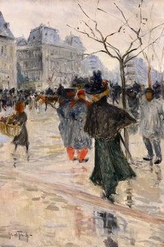 Rain - Les Grands Boulevards - Impressionist Oil, Figures in Cityscape - Truchet