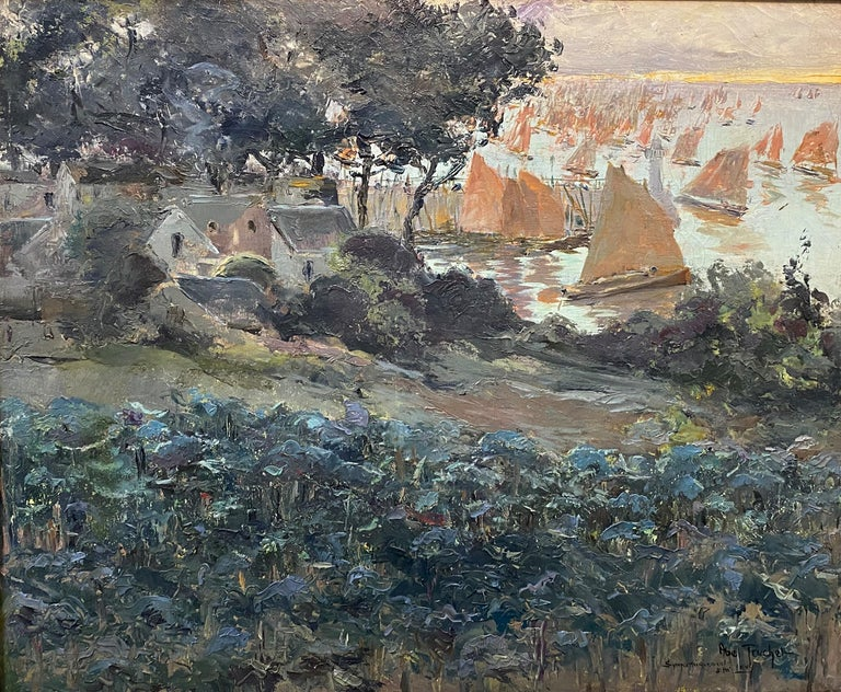 Harbor Scene with Boats - Impressionist Art by Louis Abel-Truchet