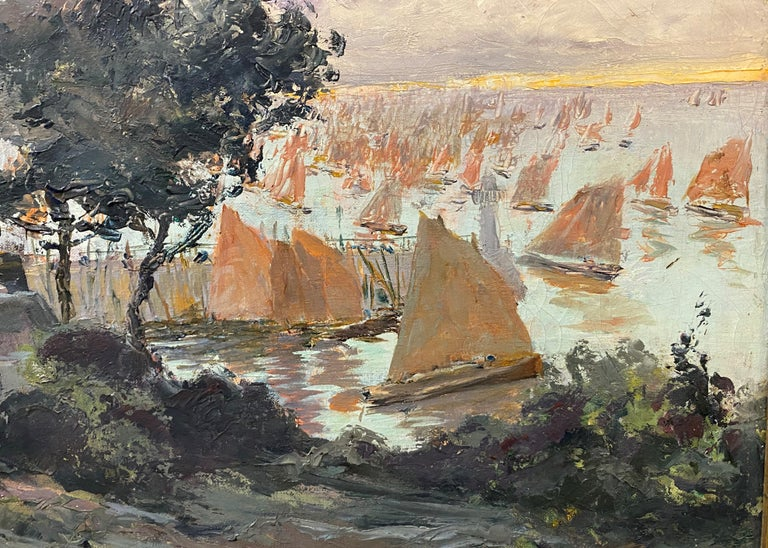 A fine impressionist coastal painting with boats in the harbor and a cabbage garden in the foreground by French artist Louis Abel-Truchet (1857-1918). Louis Abel-Truchet was born in Versailles in 1857.  He enrolled at the Académie Julian in 1890 to