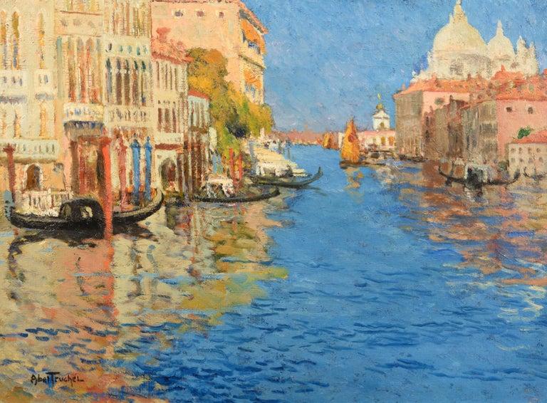 Venise, la Pointe de la Douane Vue du Grand Canal - Painting by Louis Abel-Truchet
