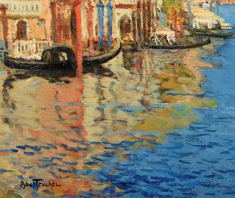 Venise, la Pointe de la Douane Vue du Grand Canal - Brown Figurative Painting by Louis Abel-Truchet