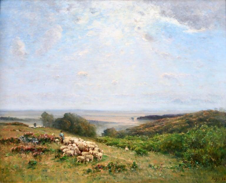 Les Bergers - Barbizon Oil, Shepherd & Sheep in Landscape by Louis Aime Japy - Painting by Louis Aimé Japy
