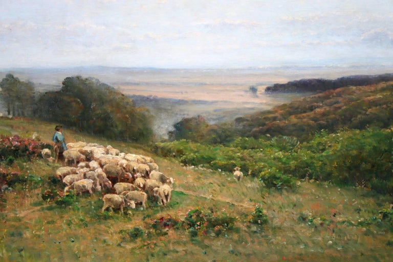 Les Bergers - Barbizon Oil, Shepherd & Sheep in Landscape by Louis Aime Japy For Sale 1