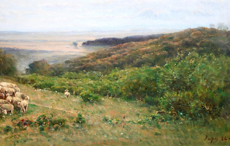 Les Bergers - Barbizon Oil, Shepherd & Sheep in Landscape by Louis Aime Japy For Sale 2