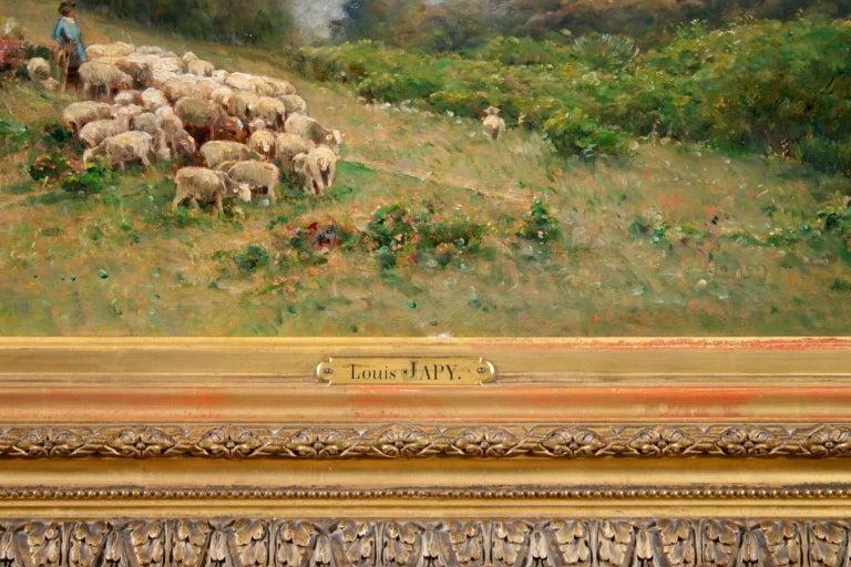 Les Bergers - Barbizon Oil, Shepherd & Sheep in Landscape by Louis Aime Japy For Sale 4